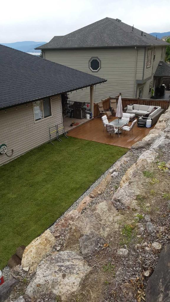 laying turf and landscaping